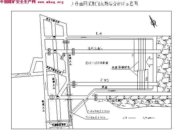 系统抽放瓦斯泵选择 (1)本煤层抽放瓦斯 1)摩擦阻力 A、机巷本煤层支管摩擦阻力 Hm1=9.81Q2L/(KD5) 式中:Hm1  管路摩擦阻力,Pa Q 瓦斯流量,Q=1008 m3/h  混合瓦斯对空气的密度比,查表得=0.955; L 管路长度,L = 1000m; K 系数,查表得 K= 0.71 D 瓦斯管内径,D=20cm。 经过计算得Hm1= 4.
