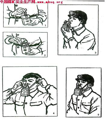 过滤式自救器的使用  过滤式自救器的佩戴方法如下:  1.