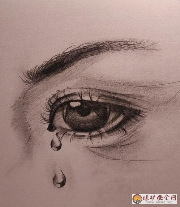 流泪眼睛手绘画